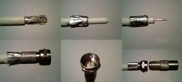 Подключение телевизора к антенному кабелю через штекер