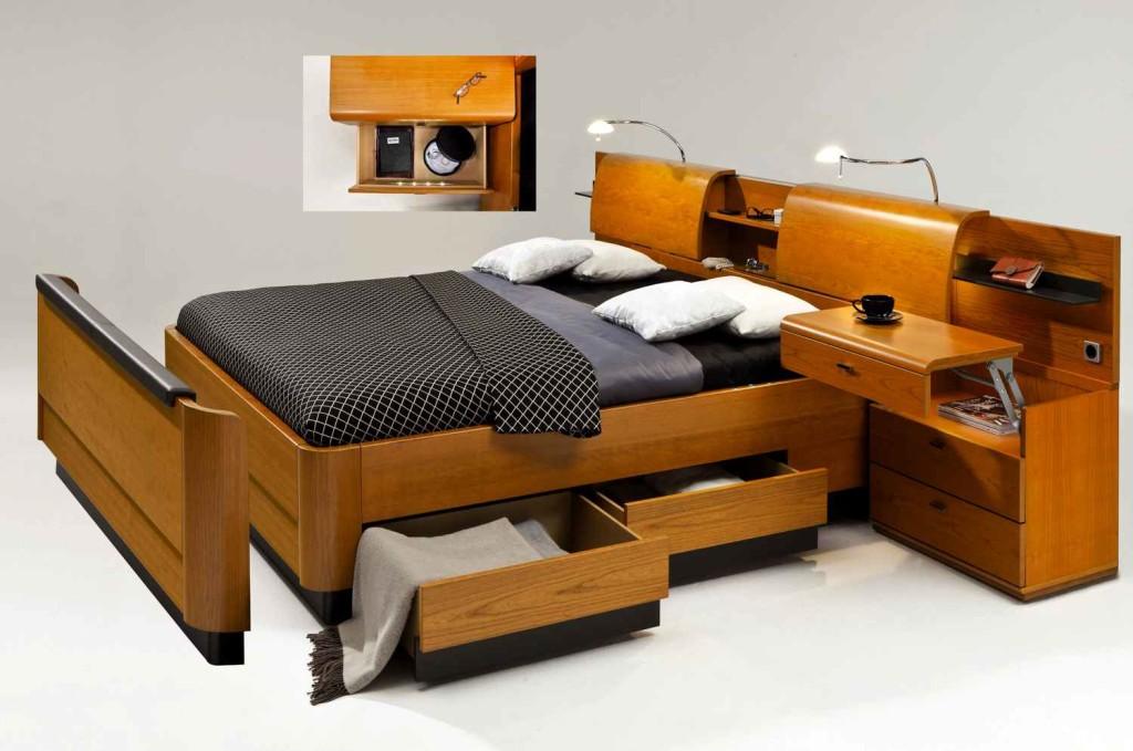 Двуспальная кровать ящиками