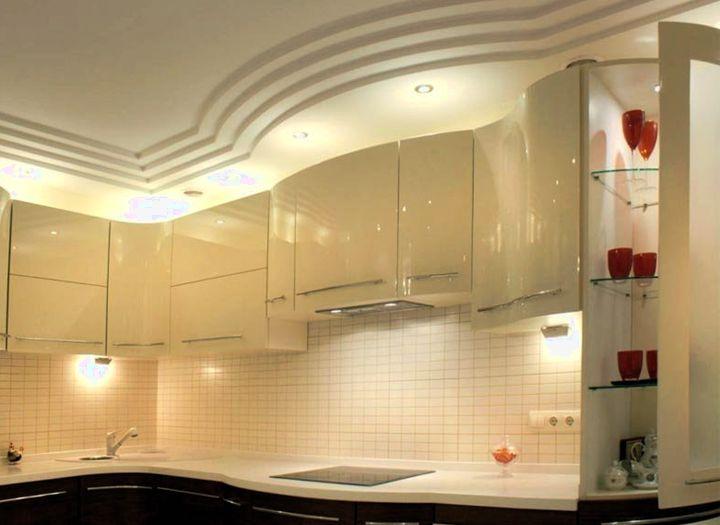 Многослойный потолок на кухне из гипсокартона