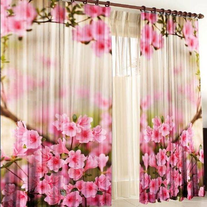 Объёмный фотопринт цветов на шторах