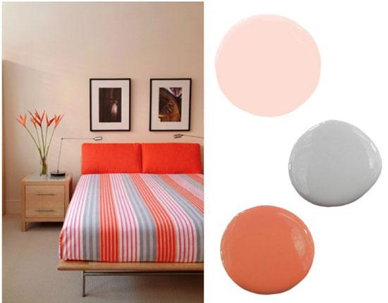 Персиковый цвет в интерьере спальни фото