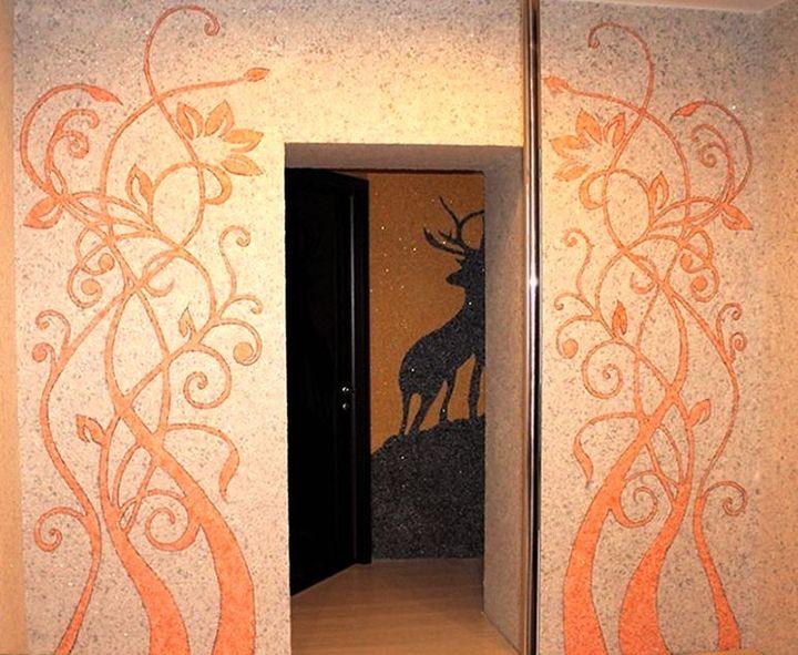 Уникальные рисунки из декоративной шелковой штукатурки
