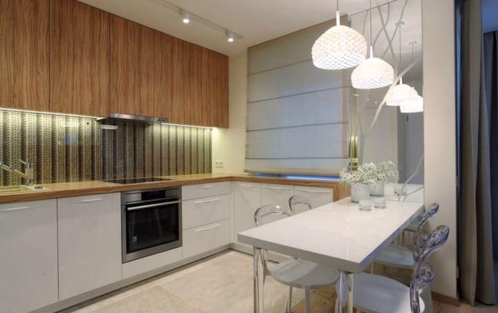 Разделение зала и кухни столом