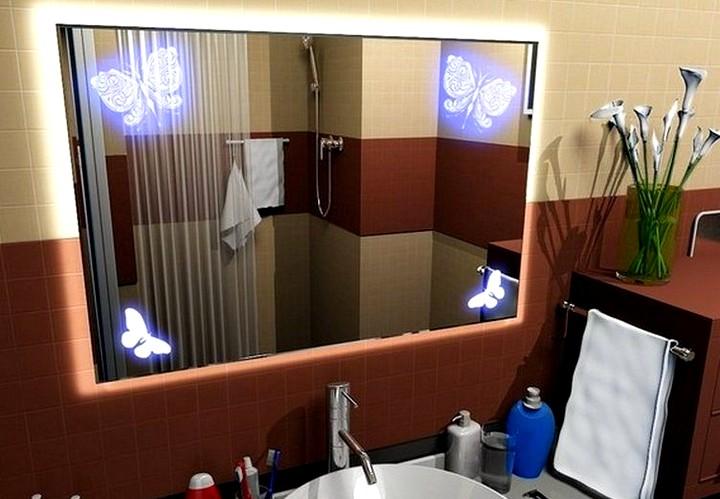 Зеркало в ванную комнату с декоративной подсветкой