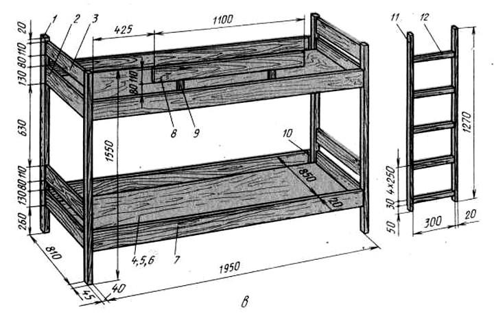 чертеж двухъярусной кровати