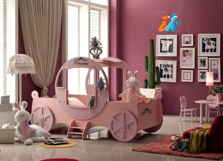 розовая кровать для девочки