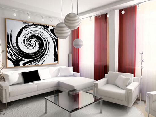Красно-белый интерьер гостиной