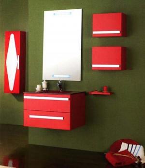 красный цвет в интерьере ванной комнаты 124