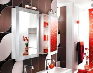 красный цвет в интерьере ванной комнаты 128
