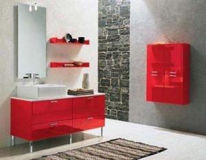 красный цвет в интерьере ванной комнаты 61