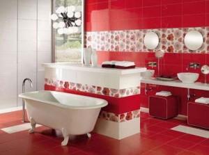 красный цвет в интерьере ванной комнаты 62