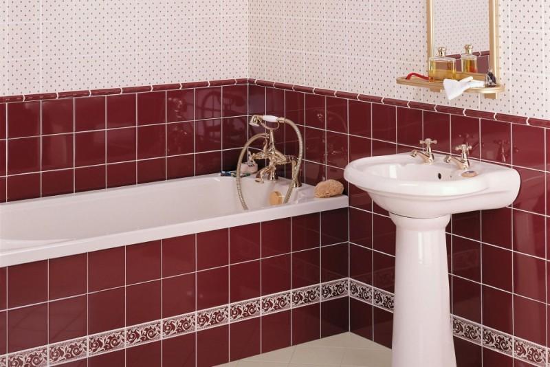 Модный цвет Марсала в ванной комнате