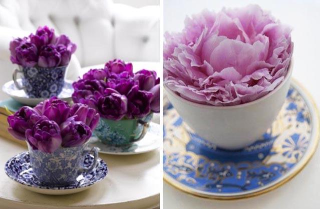 модное украшение интерьера - цветы в чашках фото2