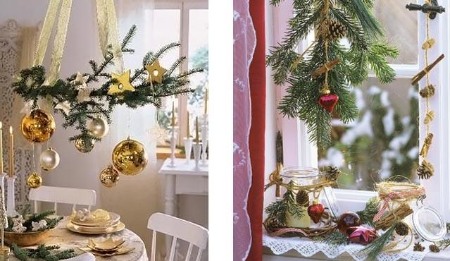 новогоднее украшение дома - букеты из сосновых веток 013