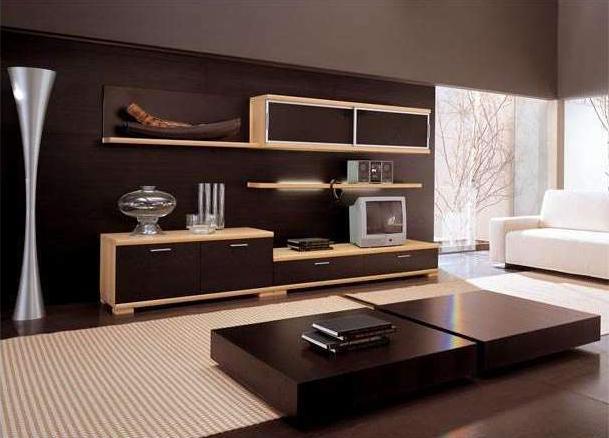 Фото обоев для зала с двуцветной мебелью