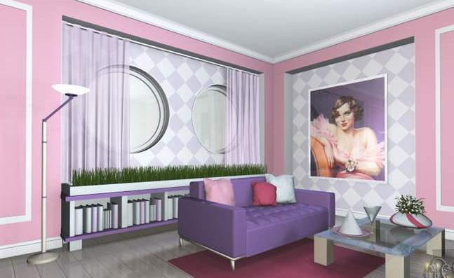 Фото обоев для зала с яркой мебелью