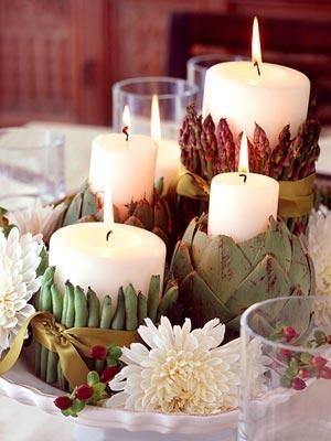 украшение стола цветами и свечами фото10