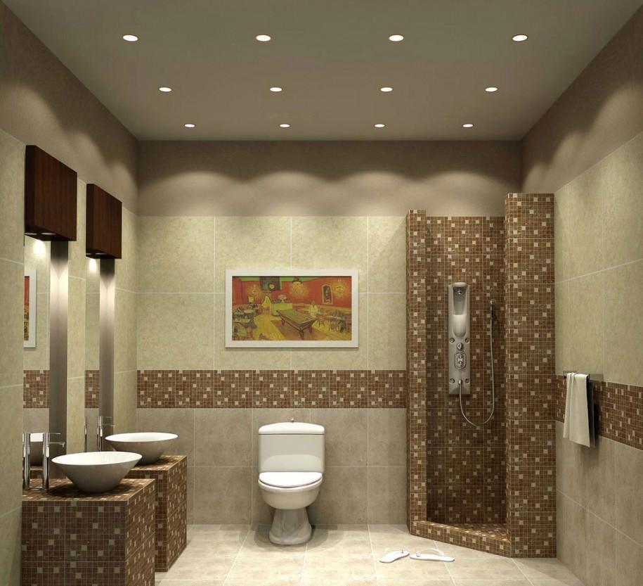 Интересное освещение ванной комнаты