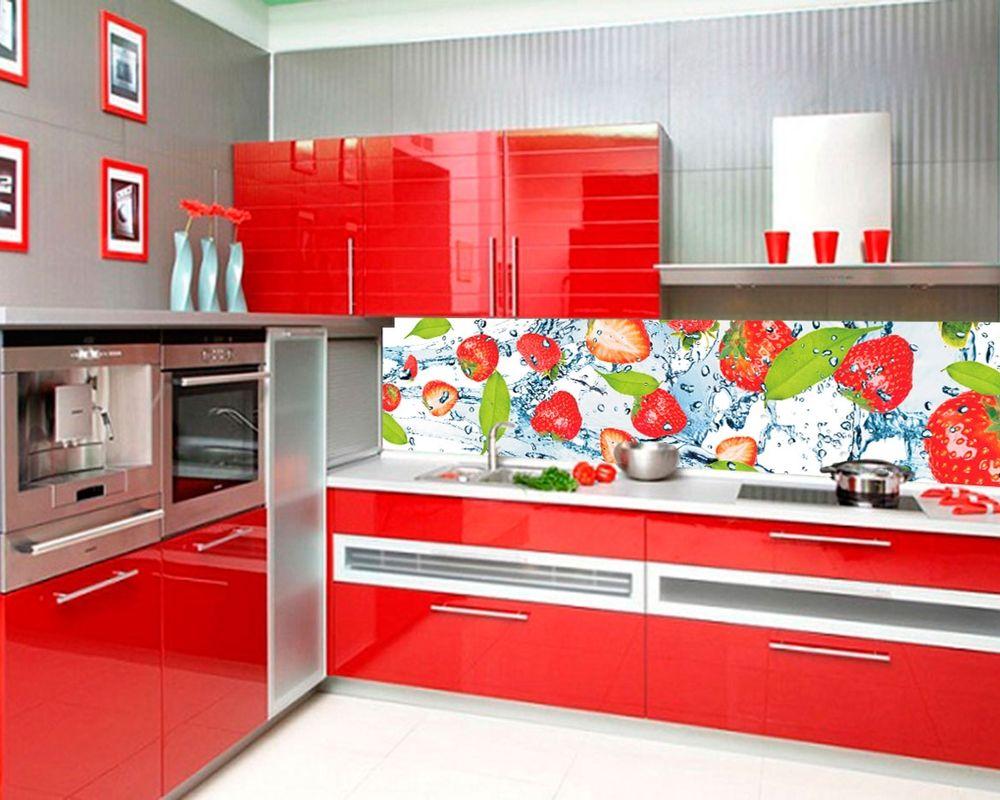 Фартук из пластика для кухни в красном варианте