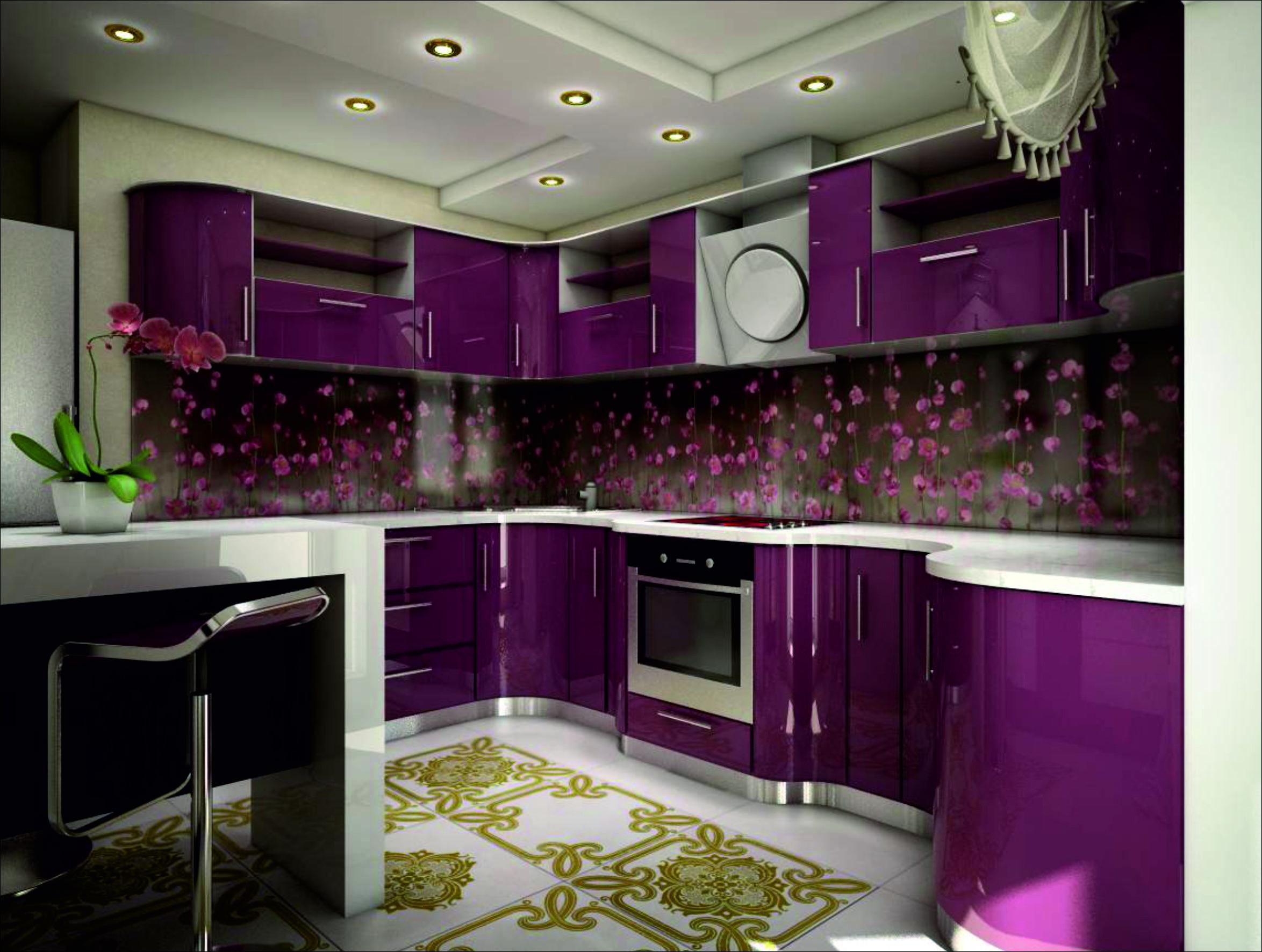 Оттенки фиолетового фартук на кухню