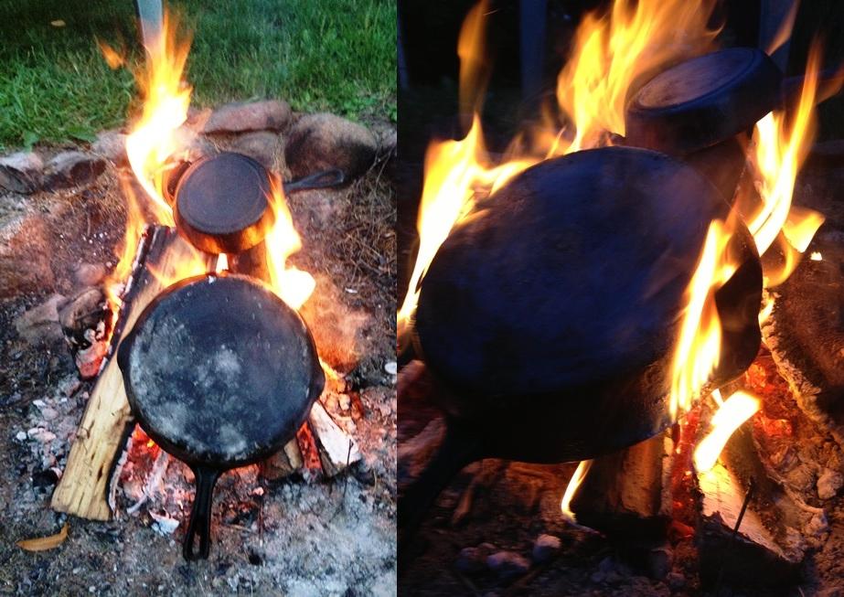 Очистка сковороды от нагара огнем