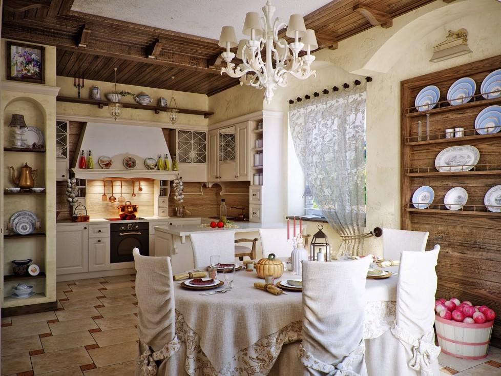 Тюль на кухню в кантри стиле