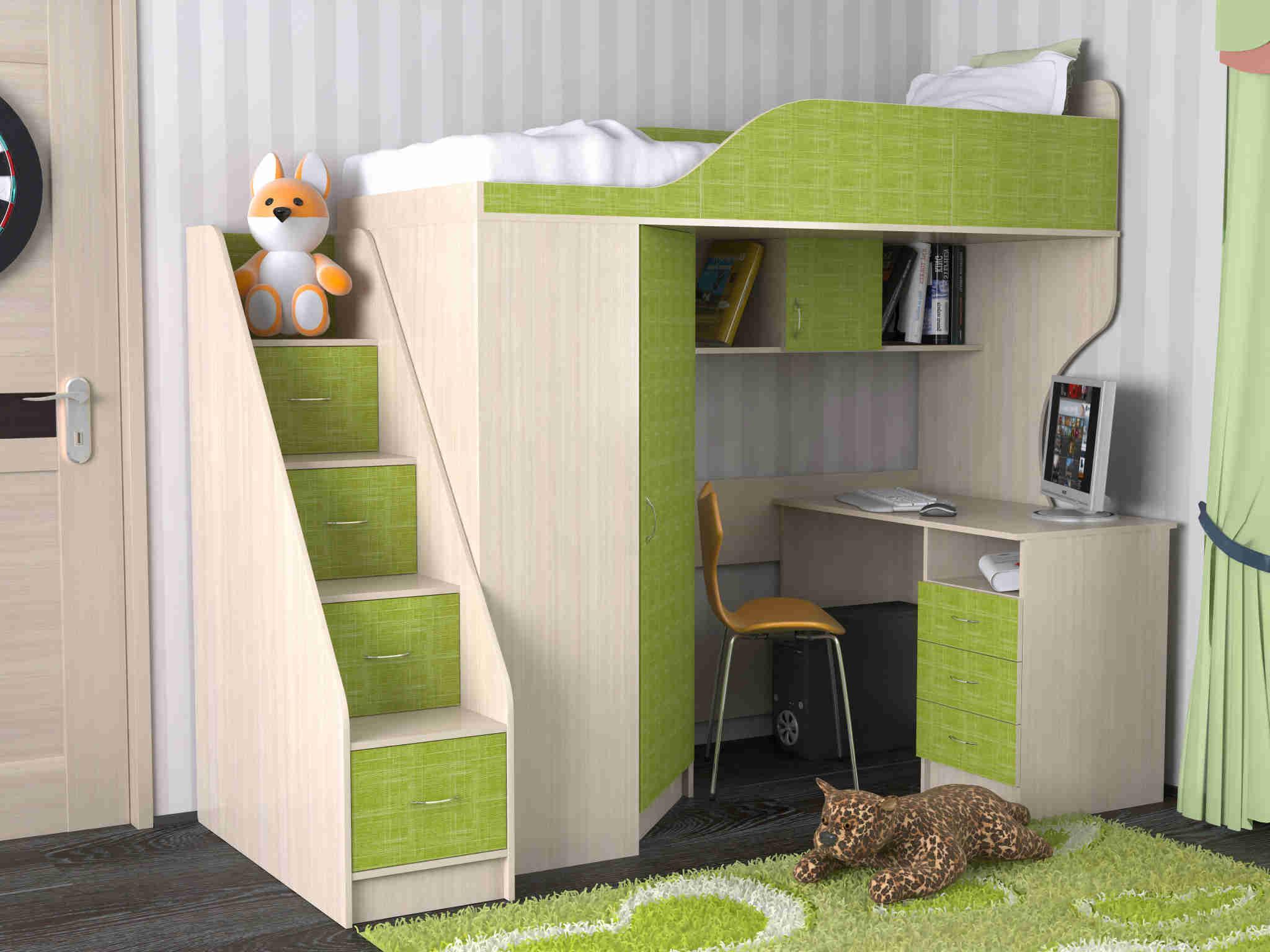 Кровать чердак с диваном внизу зеленый