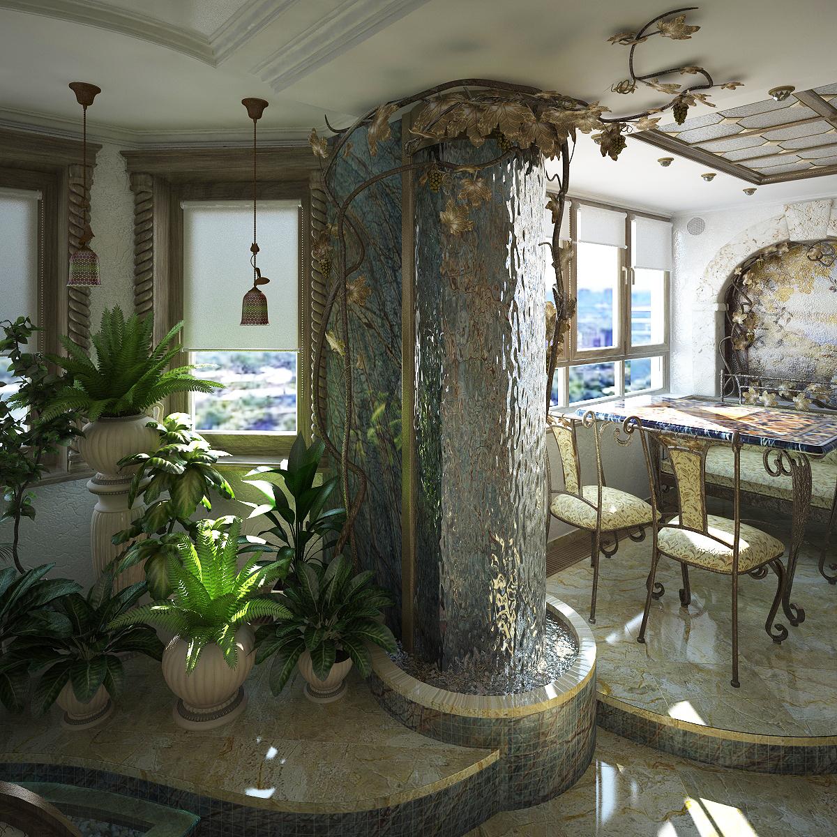 Декоративные фонтаны и водопады дома