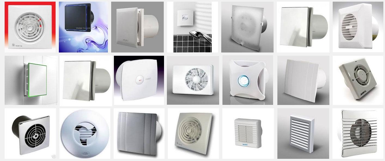 Различные виды вытяжных вентиляторов для ванных комнат