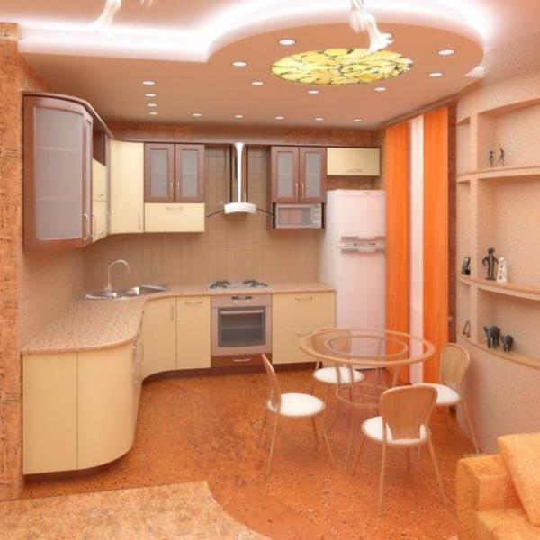 Дизайн потолка маленькая кухня