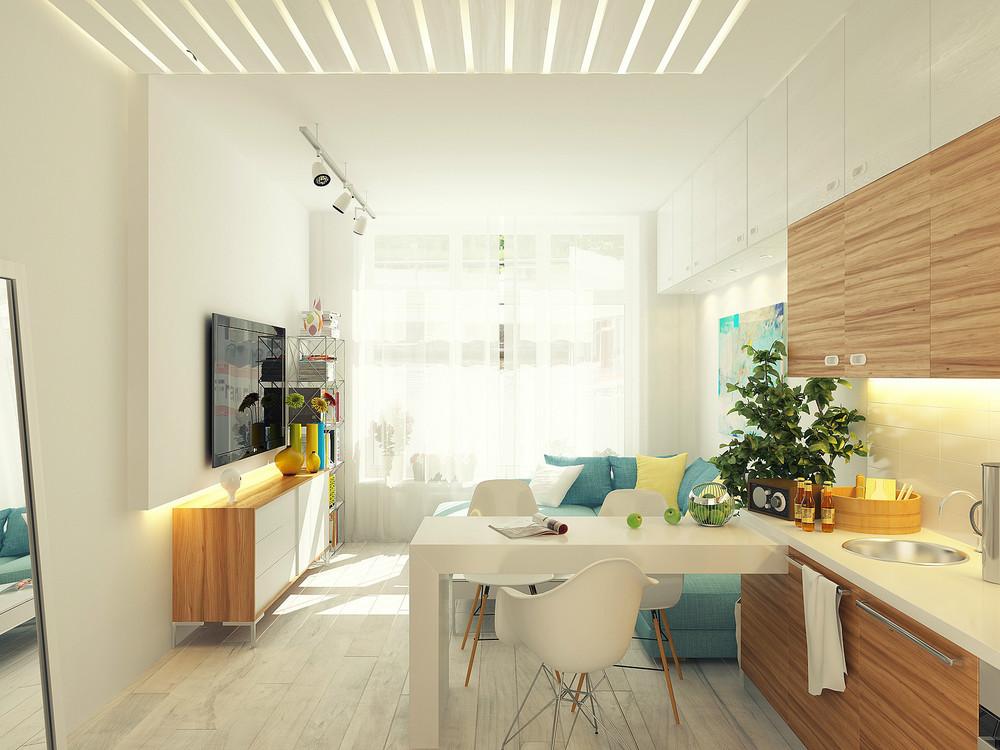 Дизайн кухни 12 кв. м с гостиной