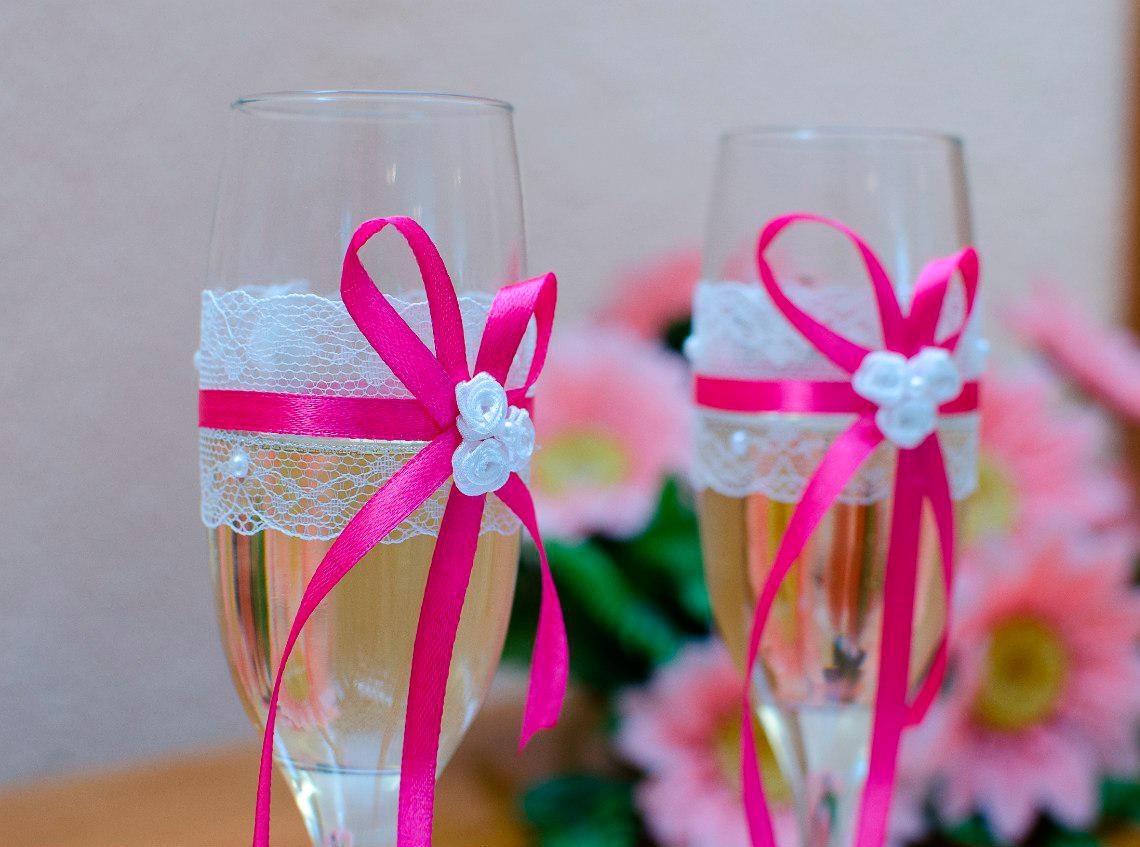 Фужеры для свадьбы своими руками из лент фото