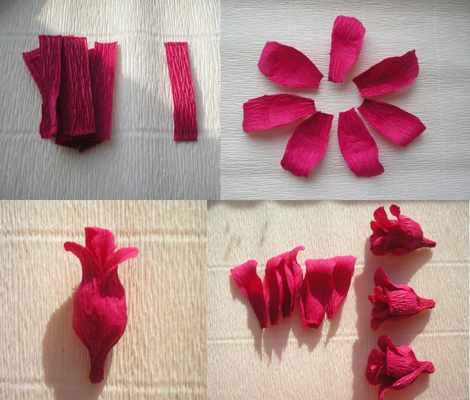 Изготовление цветка розы из гофрированной бумаги пошагово