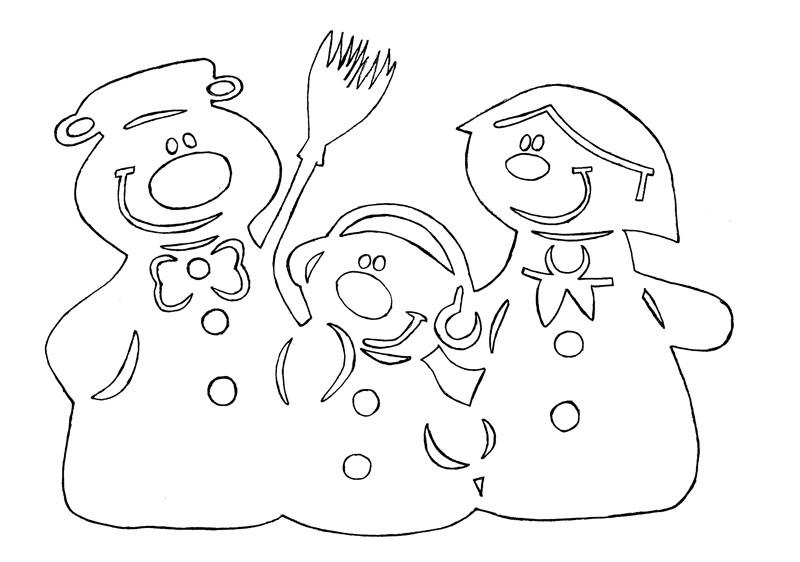 Шаблон вытынанки снеговика