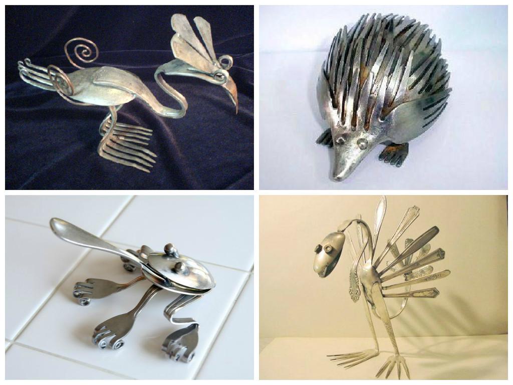 Изготавливать милые поделки можно, используя не только пластиковые, но и столовые приборы