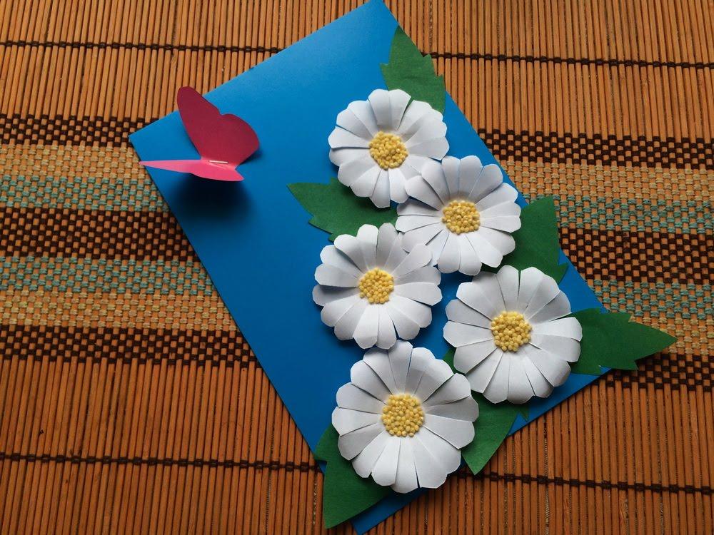 Открытка из цветной бумаги с ромашками