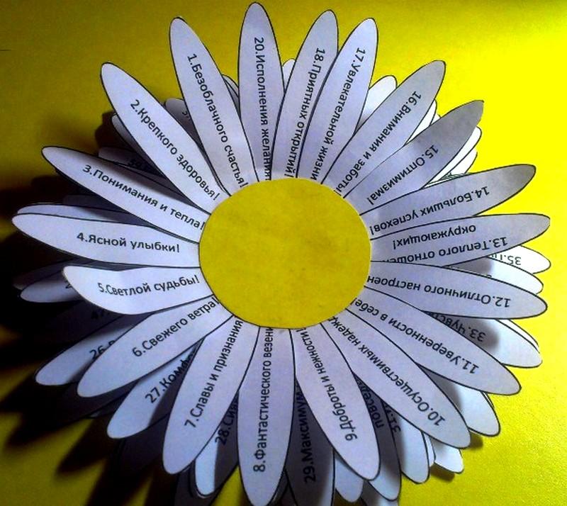 Гифки, ромашка своими руками из бумаги шаблоны с пожеланиями