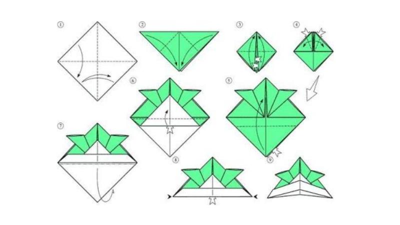 Схема изготовления шапки самурая в технике оригами