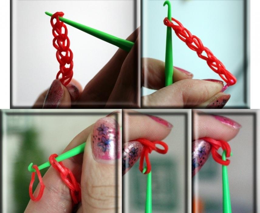 Самое простое плетение браслета из резиночек с помощью крючка