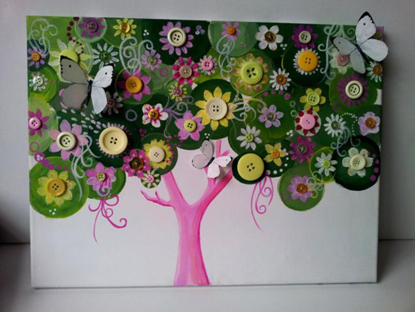 Декорирование дерева открытке из пуговиц
