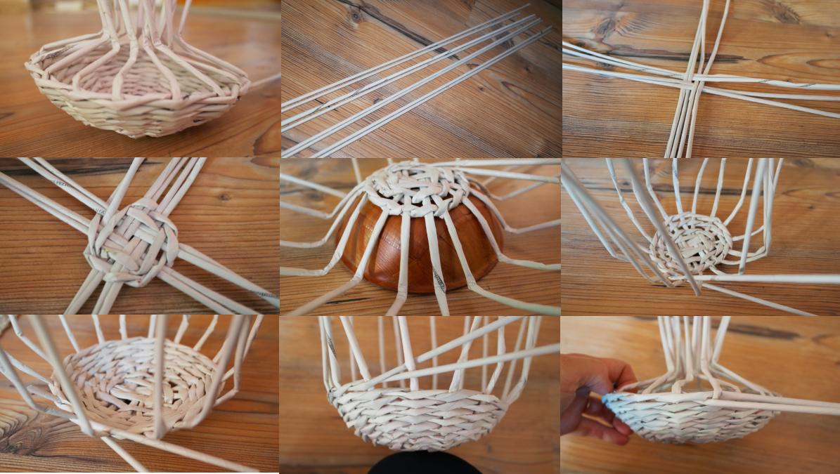 Начальные этапы плетения грибка из газетных трубочек