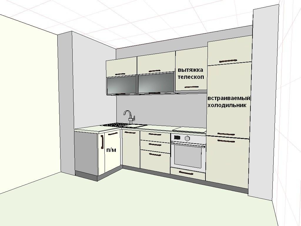 Чертеж мебели на кухне