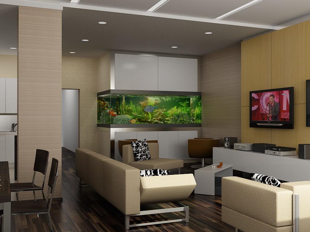 Эксклюзивный интерьер однокомнатной квартиры