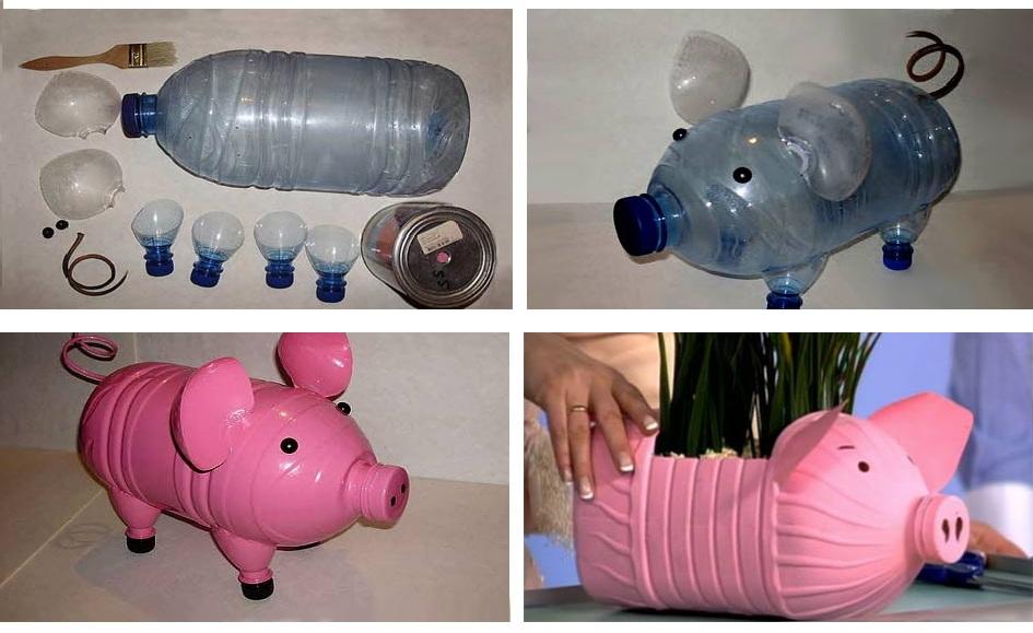 Поэтапное изготовление поросенка из пластиковых бутылок