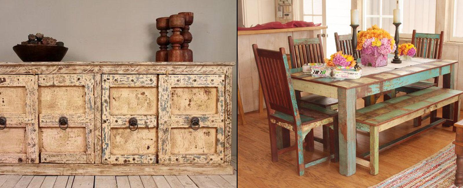 Винтажный дизайн мебели своими руками можно выполнить также методом искусственного состаривания при помощи обычной морилки или водоэмульсионной краски