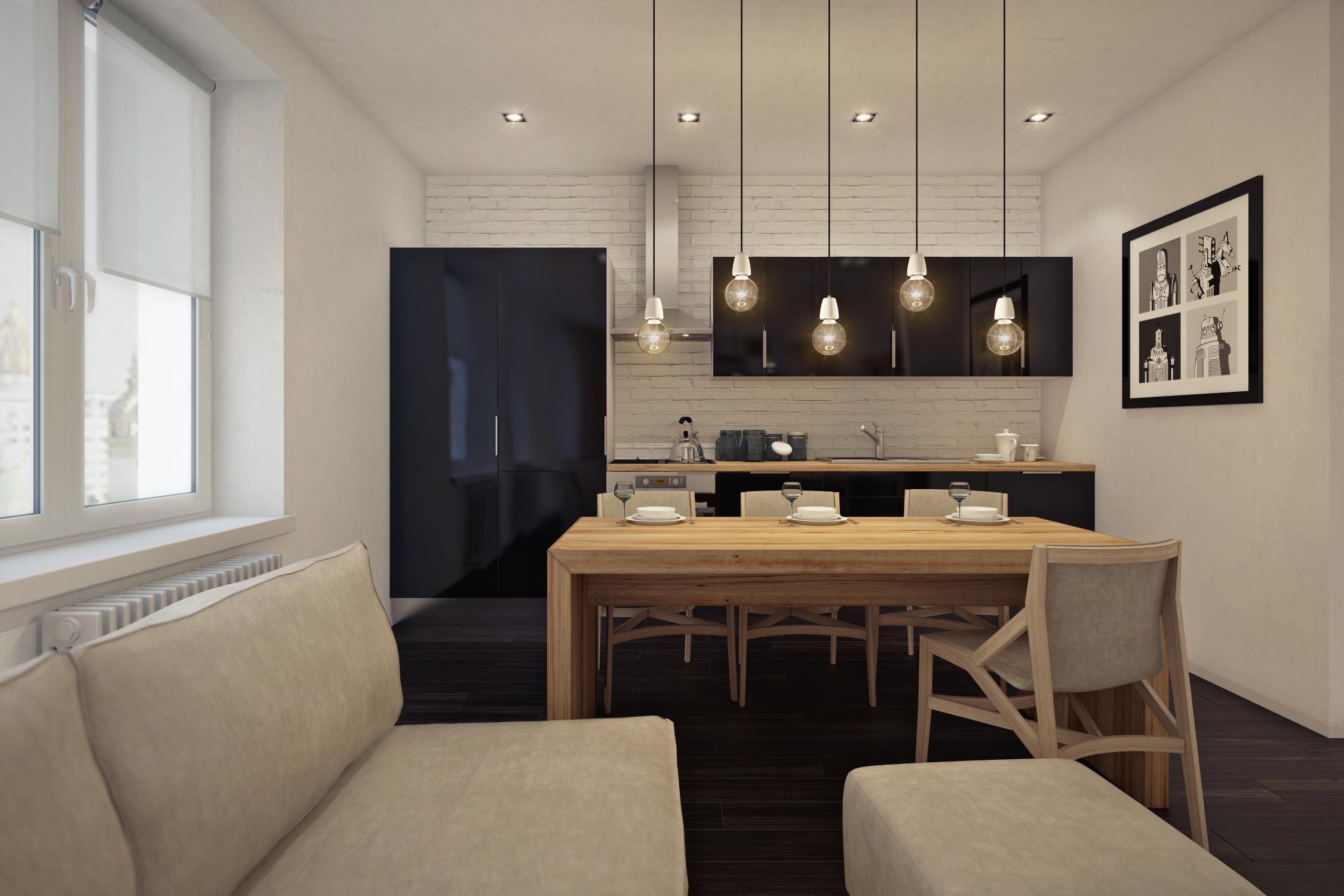 Кухня является единым целым с гостиной