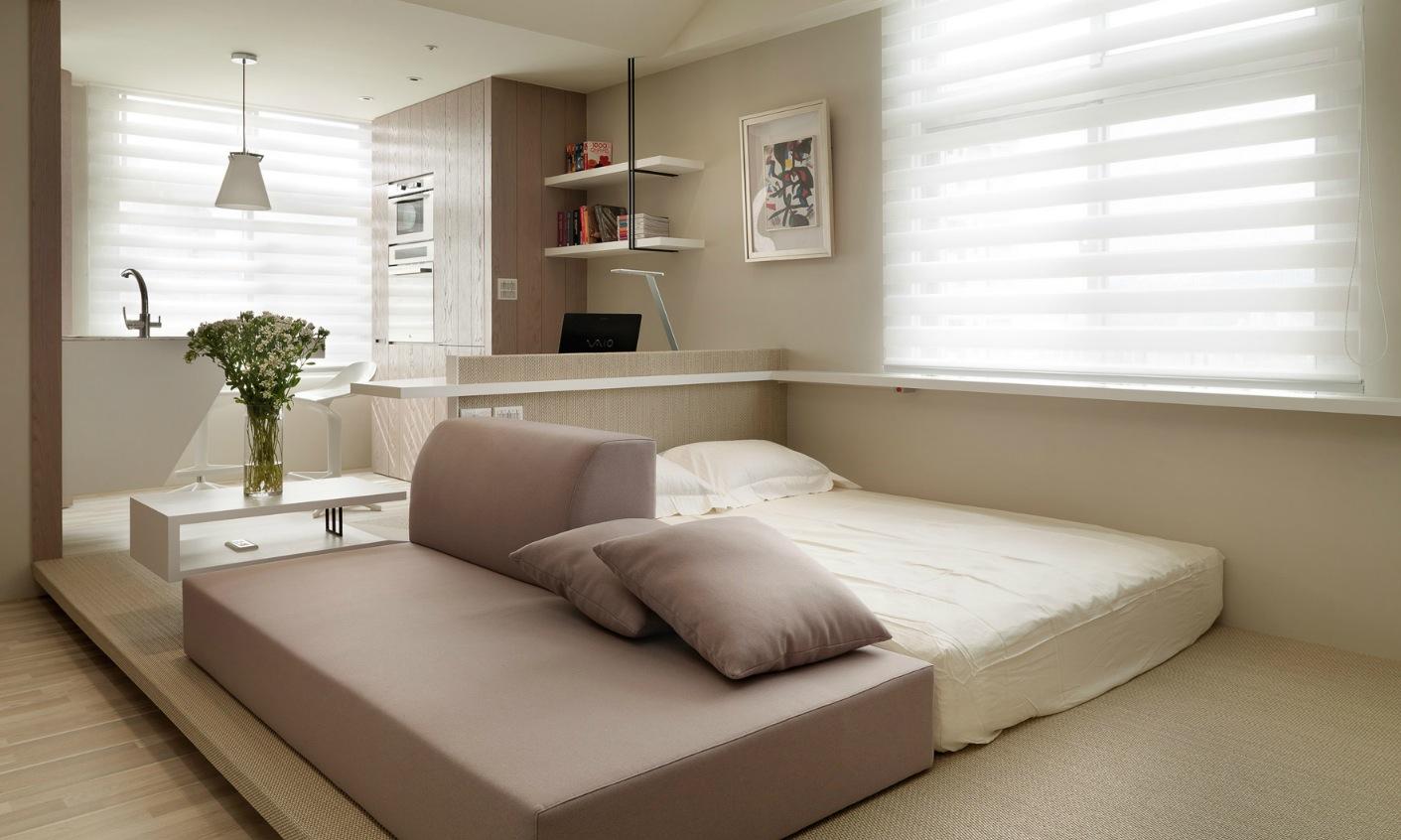 Для квартиры-студии лучше всего подойдут современные и компактные предметы интерьера