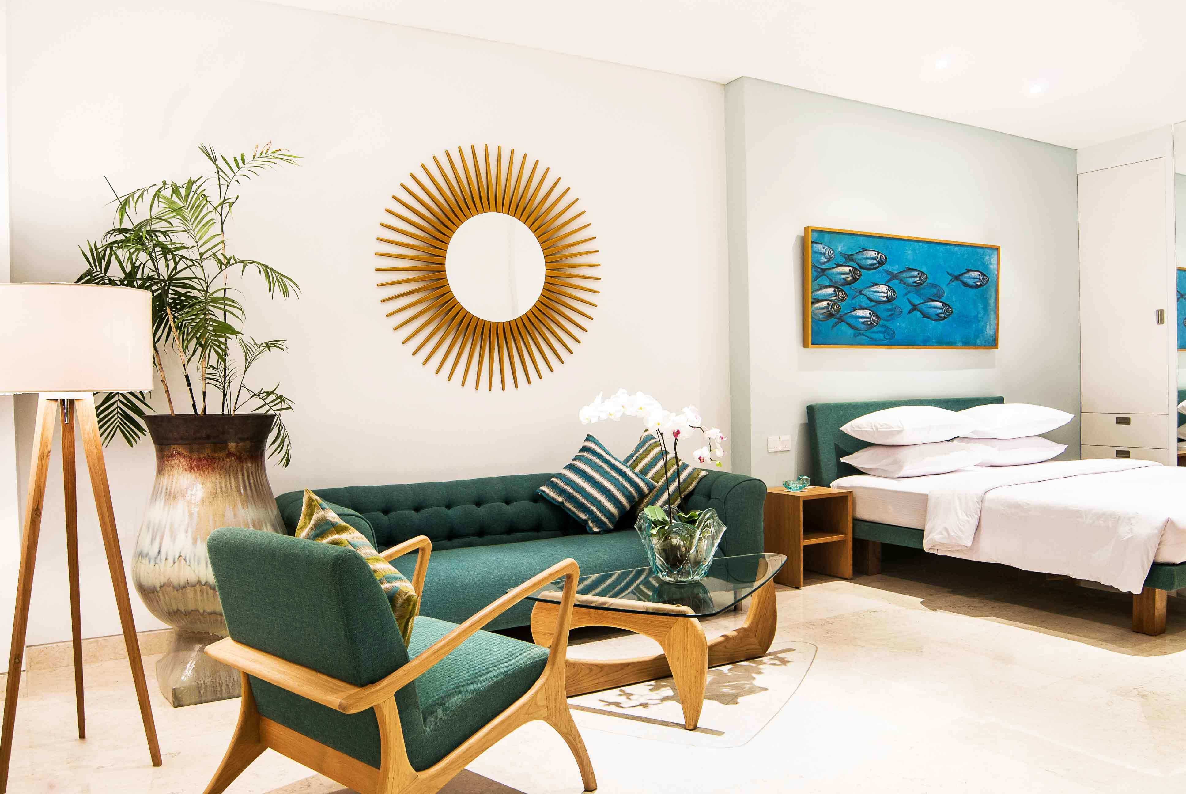 Современный дизайн квартиры студии 40 кв.м не предполагает использования большого количества ярких цветов, лучше всего делать небольшие акценты