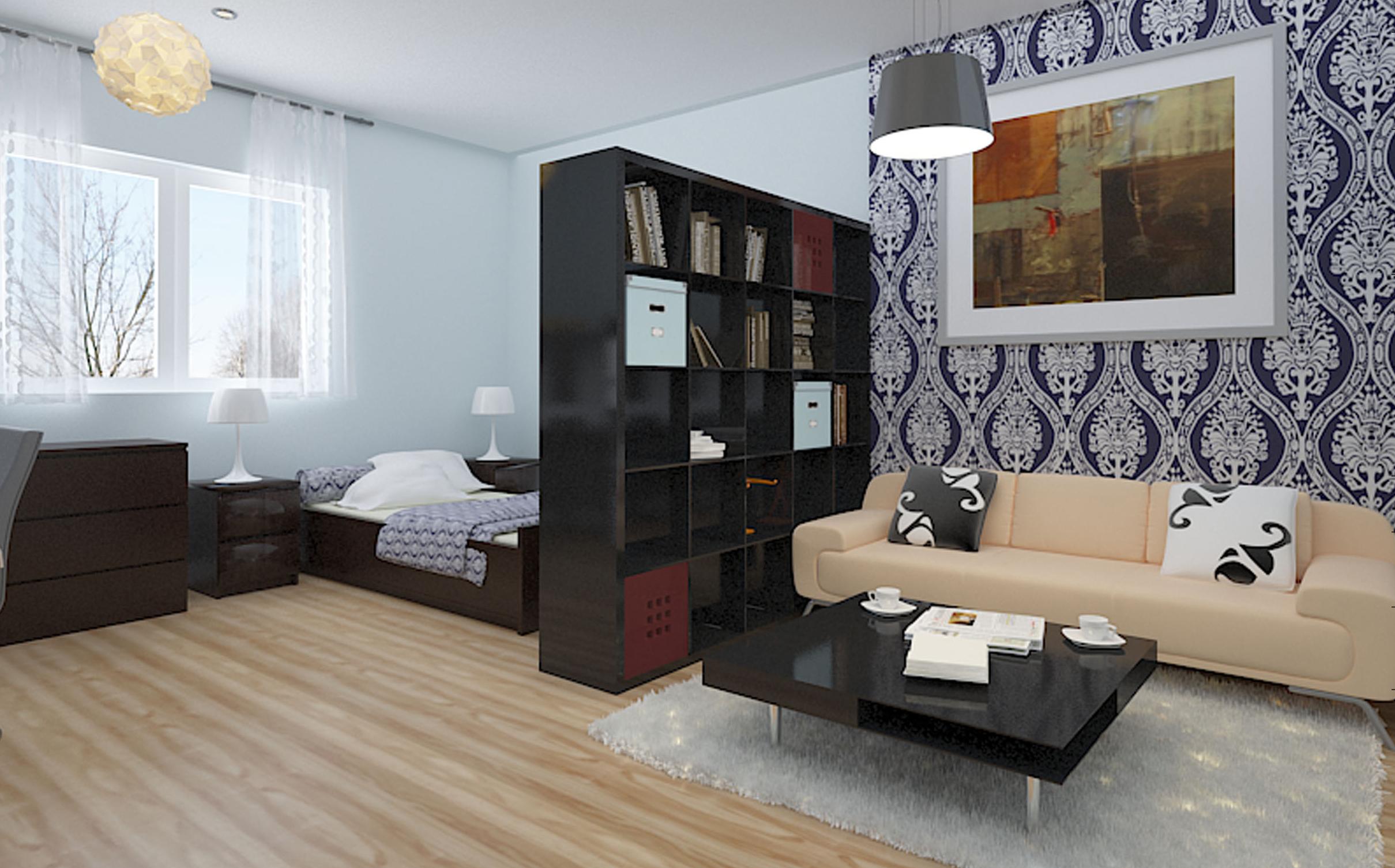 В квартире-студии отделка должна разграничивать функциональные зоны