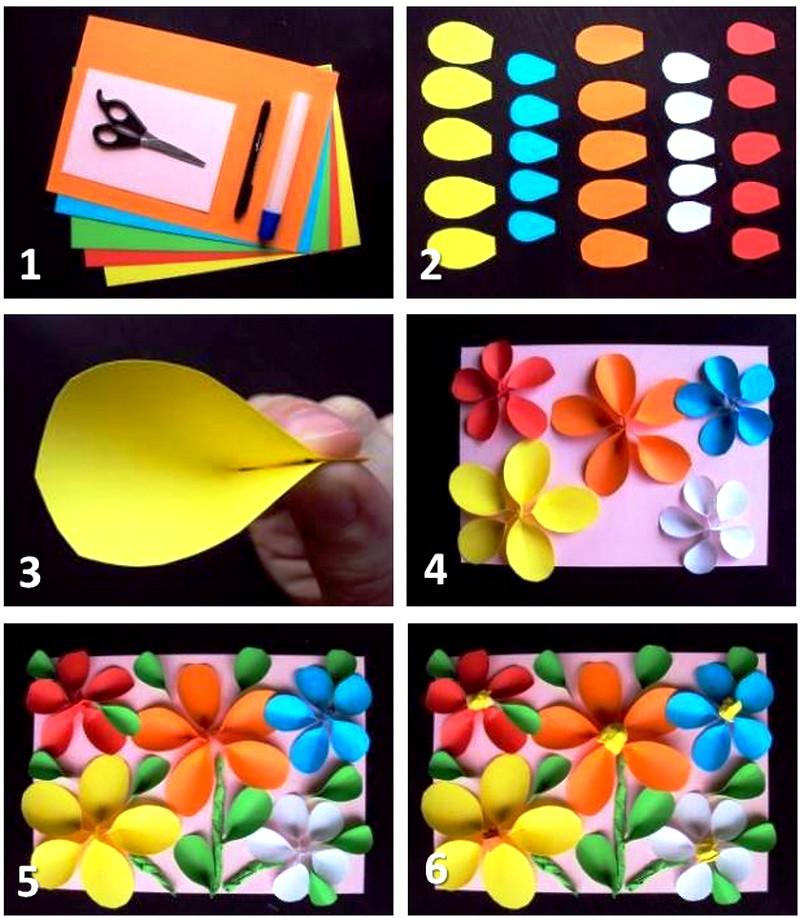 Открытки с цветной бумаги своими руками к 8 марта